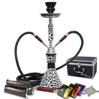 "NeverXhale Hookah Combo Starter Set - 18"" 2 Hose Hookah Shisha Charcoal Kit featuring Hydro Herbal Molasses (Snow White Leopard)"