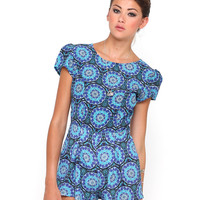 Motel Hoppy Cap Sleeve Playsuit in Mandala Blue