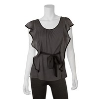 IZ Byer California Contrast Flutter Top - Juniors