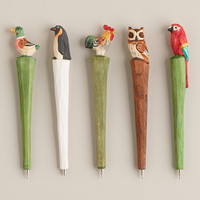 WOODEN BIRD PENS, SET OF 5