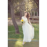 Cap Sleeve Full Length Square Neck Wedding Dress