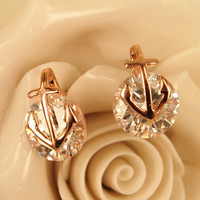 Anchor and Bright CZ Earrings 06 rose gold
