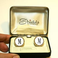 Letter M Cufflinks Vintage Round Monogram Mother of Pearl Gold Tone Initial Cuff Links by Shields