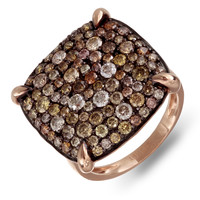 Round cut multi-colored diamond ring