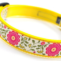 "Dog Collar ""Summer Flowers"" - 1"" Width - Available in 2 Sizes (M or L)"