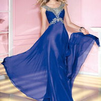 Alyce 2014 Royal Blue and Silver Detail Scoop Neck Cap Sleeve Flowing Prom or Evening Gown 6181 | Promgirl.net