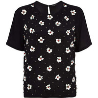 BLACK FLOWER EMBELLISHED T-SHIRT