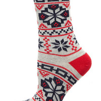 Grey/red fairisle print socks