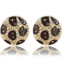 BLACK ENCRUSTED LEOPARD PRINT DISC EARRINGS