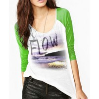 FLOW-koko - Green / White Raglan Baseball Tee