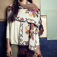 Fringed Floral Wrap