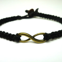 Brass Infinity Bracelet, Black Macrame Hemp Jewelry