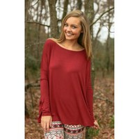 PIKO:Just About Anywhere Blouse-Burgundy