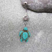 Turquoise Cute Tortoise belly button ring , belly button jewelry