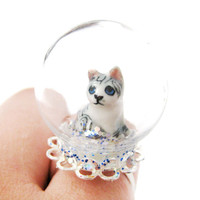 Porcelain Baby Kitty Cat Glass Snow Globe Bubble Adjustable Ring