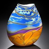 Blue Landscape: John & Heather Fields: Art Glass Vase - Artful Home