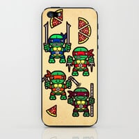 Teenage Mutant Ninja Turtles Pizza Party iPhone & iPod Skin by chobopop