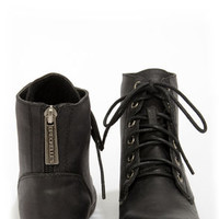 Georgia 43 Black Lace-Up Ankle Boots