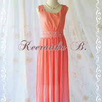 Keeratika B - Formal Maxi Dress Floor Length Dress Peach Dress Pleated Skirt Party Dress Cocktail Dress Prom Dress Wedding Dress