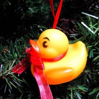 Baby Rubber Ducky Christmas Ornament with Red Ribbon Bow and Hanger