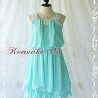 Keeratika B - Sexy Cocktail Dress Mint Blue Dress Egyptian Pearl Beads Neckline Layers Skirt Prom Dress Party Dress Night Dress