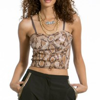 Snake Skin Sequin Bustier Crop Top |MakeMeChic.com