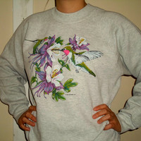 90s Purple Pink Hummingbird Flower Crewneck Sweatshirt, 1990s Pullover Sweater