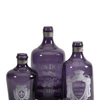 IMAX N/A Set of 3 Karlin Purple Glass Bottles
