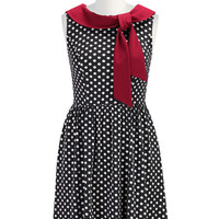 Colorblock collar dot print dress