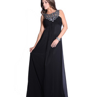 Black Chiffon Encrusted Halter Empire Waist Prom Dress