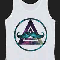 Mustache Triangle Circle Galaxy Space Universe Tank Top Women Tops White Tee Shirt Tank Tops Size XS, S, M, L