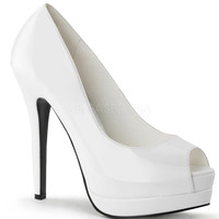 White Patent Leather Bella Peep Toe Pumps