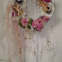 Embellished wreath shabby chic cherubs roses Anemones floral wall home decor decor Anita Spero