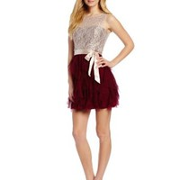 Teeze Me Juniors Lace Illusion Top Petal Skirt Dress