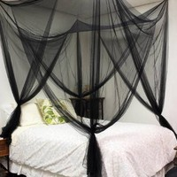 4 (Four) Corner Post Bed Black Canopy Mosquito Net Full Queen King Size Netting