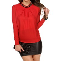 Red Embellished Neckline Top
