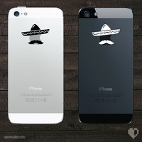 Sombrero and Mustache iPhone Decal / iPhone Sticker