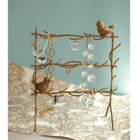 Gold Leaf Birds on Branches Jewelry Stand at Wrapables - Jewelry Stands