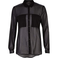 BLACK PERFORATED LEATHER-LOOK YOKE SHIRT