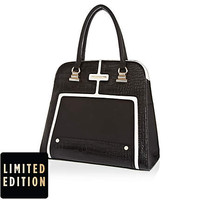 BLACK CROC PANEL STRUCTURED SQUARE BAG