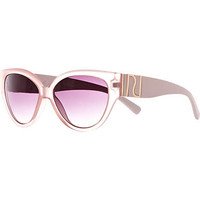 LIGHT PINK FROSTED CAT EYE SUNGLASSES