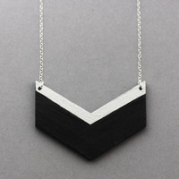 Wooden Chevron Necklace (Black - Silver) - Geometric Shape Jewellery