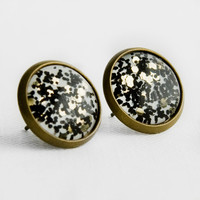 New Years Confetti Post Earrings in Antique Bronze - White with Black and Gold Hexagonal Glitter Studs