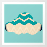 Chevron Cloud Art Print by Laura Santeler