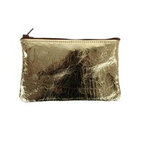 Catbird :: Tracey Tanner :: Leather Pouch, Gold Crackle - small