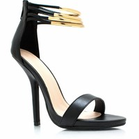 Ring-Fling-Faux-Leather-Heels BLACK WHITE - GoJane.com