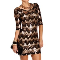 Pre-Order BlackGold Scalloped Sequin Dress