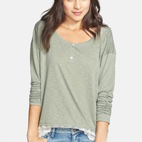 Ten Sixty Sherman Lace Trim Henley (Juniors) | Nordstrom