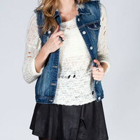 HIPPIE LAUNDRY Womens Destructed Denim Vest
