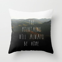 Mountain Home Quote Pillow Cover, Mountains Photo Pillow Case, Boho Home Decor, Appalachian Photography, Green and Black Toss Pillow Cover